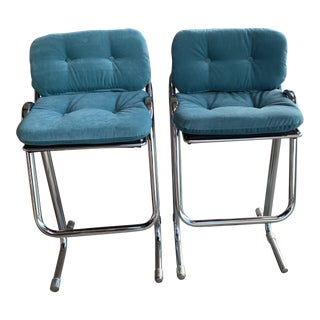 1970s Vintage Jerry Johnson Bar Stools- A Pair For Sale