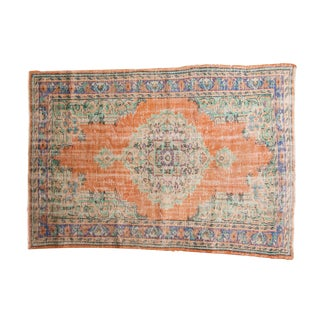 "Vintage Distressed Oushak Carpet - 5'6"" X 7'8"" For Sale"