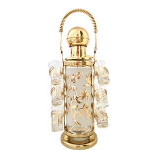 1960s Vintage Frosted Glass 22-Karat Gold & Gilt Brass Drink Set - 9 Pieces For Sale
