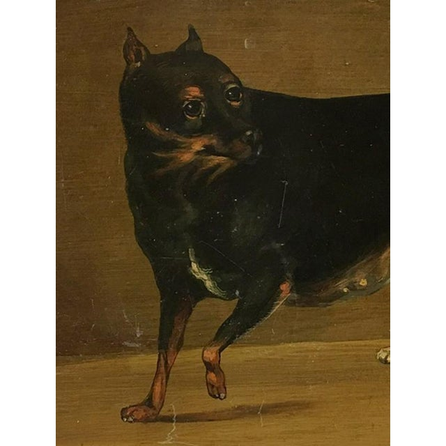 Charming Vintage panel painting on metal plate. Acrylic painting shows an adorable toy rottweiler waiting for its master...
