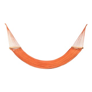 Handmade Bright Orange Cotton Hammock with Wooden Bar For Sale