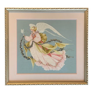 Original Vintage 1980's Cross Stitched Angel With Beading in Vintage Frame For Sale