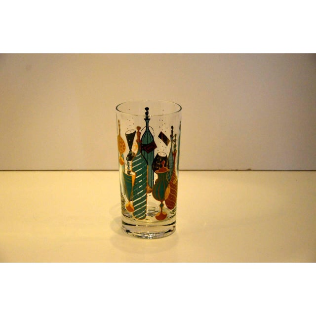 Mid Century Modern Eight Mid-Century Tom Collins Glasses with Exotic Barware Decoration & Caddy - Image 10 of 11