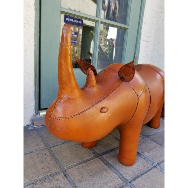 Small Leather Animal Rhino Footstool - Image 2 of 5