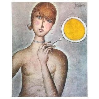 """Franco Gentilini Rare Vintage 1965 Mid Century Modern Lmtd Edtn Lithograph Print """" Nudo Con Ventaglio """" 1961 For Sale"""