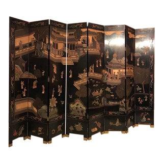 Antique Black Chinese Coromandel 8 Panel Screen For Sale