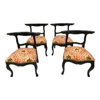 Ebonized Hollywood Regency Slipper Chairs -Set of 4 For Sale