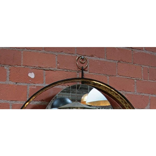 Italian Italian Mirror with Wood and Brass Frame For Sale - Image 3 of 7