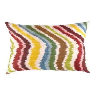 Ti 256 Turkish Multi Color Valvet Silk Ikat Pillow 16'' X 24'' For Sale