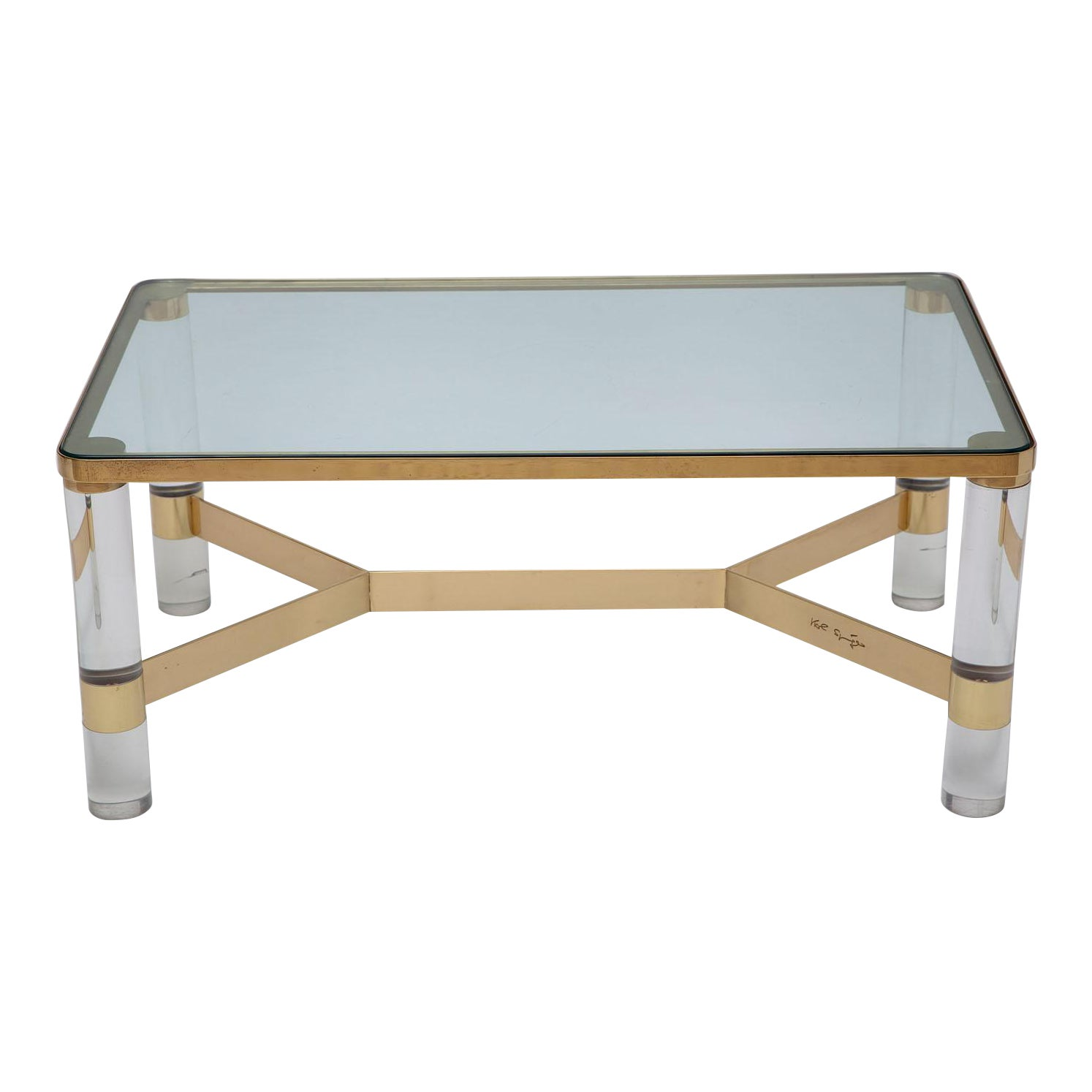 Sophisticated Signed Karl Springer Lucite And Polished Bronze Coffee Table