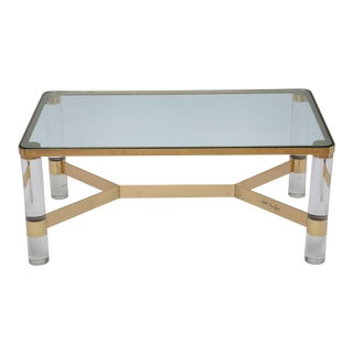 Signed Karl Springer Lucite and Polished Bronze Coffee Table For Sale