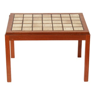 Mid-Century Modern Side Table with Tiled Top in Roger Capron Style For Sale