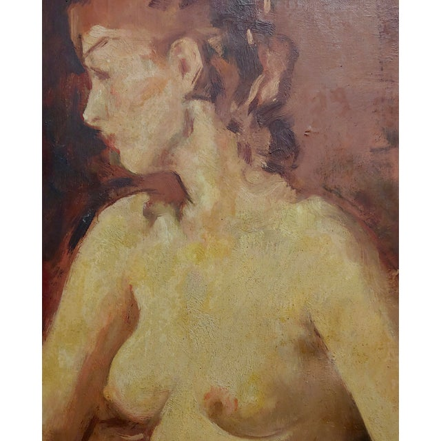 1930s William Frederick Foster -Seated Nude Woman W/White Gloves- Oil Painting- C1930s For Sale - Image 5 of 9