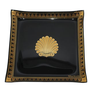 Square Neoclassic 22k Gold on Black Glass Tray by Georges Briard For Sale