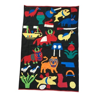 Dahomey Appliqué Embroidered Vintage African Textile For Sale