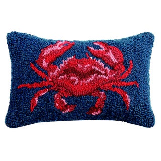 Crab Hooked Wool Pillow For Sale