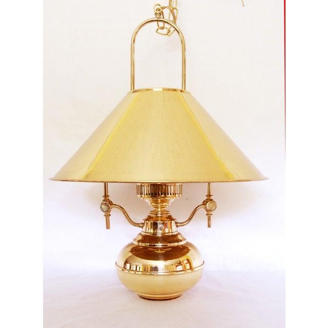Vintage Polished Brass Pendant Lamp - Image 2 of 6