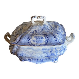 Antique English Blue & White Covered Dish For Sale