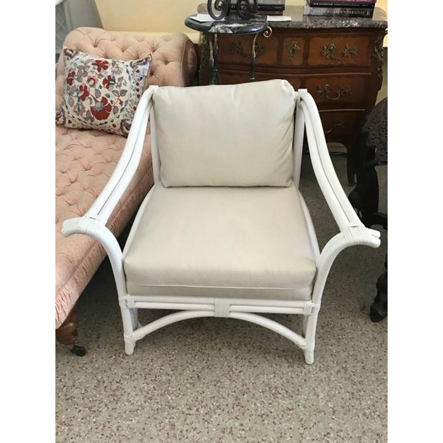 Gorgeous Ficks Reed Club Chair in new Fresh White Lacquer and New Sunbrella Fabric. Add Classic Boho Chic Style to your...
