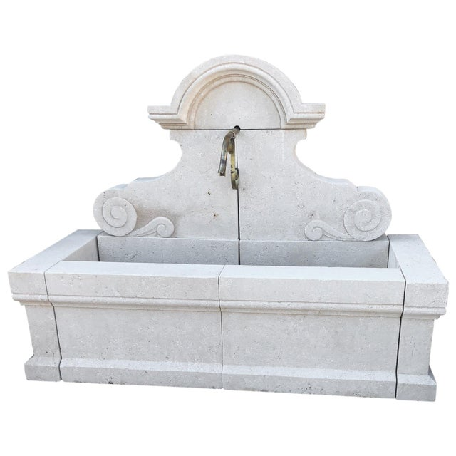 2010s Hand-Carved Limestone Wall Fountain For Sale - Image 5 of 5
