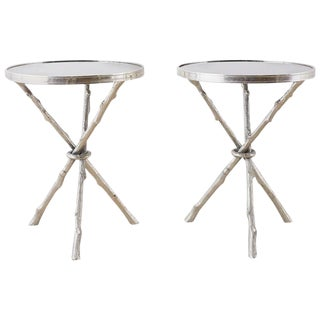Pair of Nickel and Granite Faux Bois Tripod Drink Tables For Sale