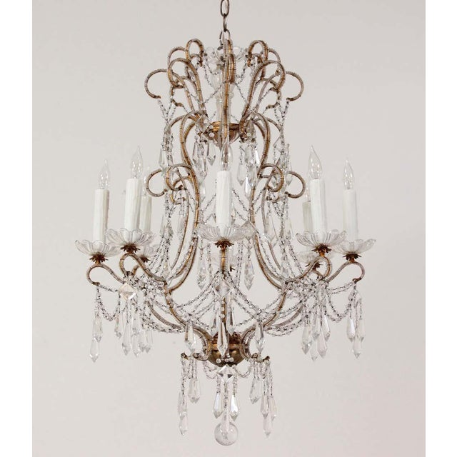 Gold 1940s Italian Crystal Beaded Chandelier For Sale - Image 8 of 9