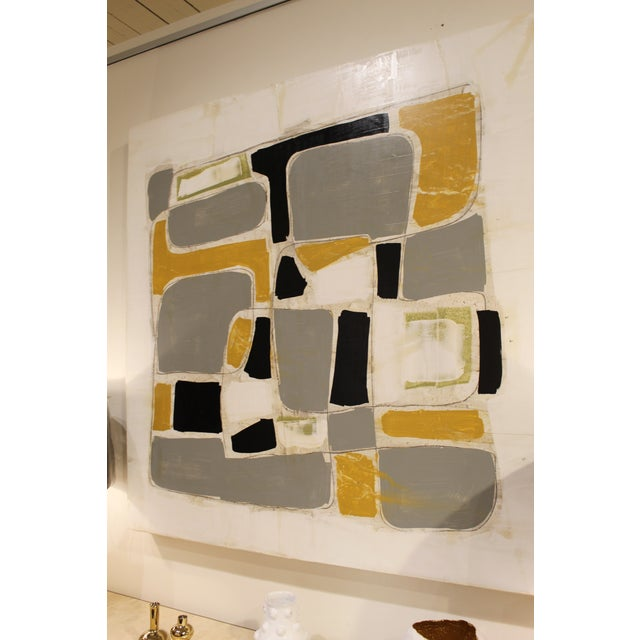 Beautiful abstract painting on wood. Painted by Scott Kerr in acrylic and plaster.