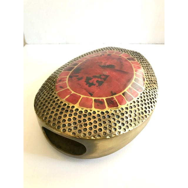 Vintage R & Y Augousti Ovoid Vase in Solid Bronze and Exotic Mosaic Pen-Shell For Sale - Image 10 of 13
