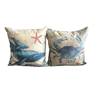 Nautical Printed Decorative Pillows - A Pair