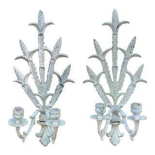Mid Century Wheat Motif Candle Sconces - a Pair For Sale