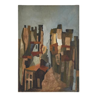 1940s Abstract French Oil Painting For Sale