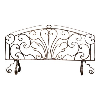 18th Century French Louis XIV Black Wrought Iron Fireplace Screen For Sale