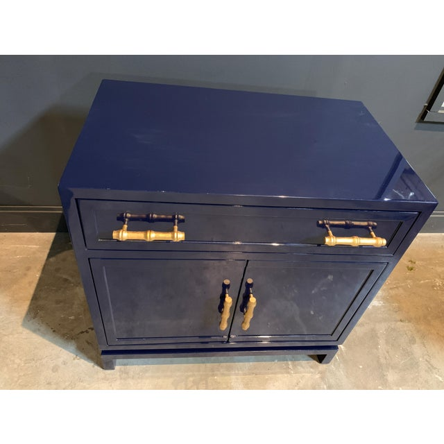 Hollywood Regency Worlds Away Navy Lacquer Nightstand For Sale - Image 3 of 7