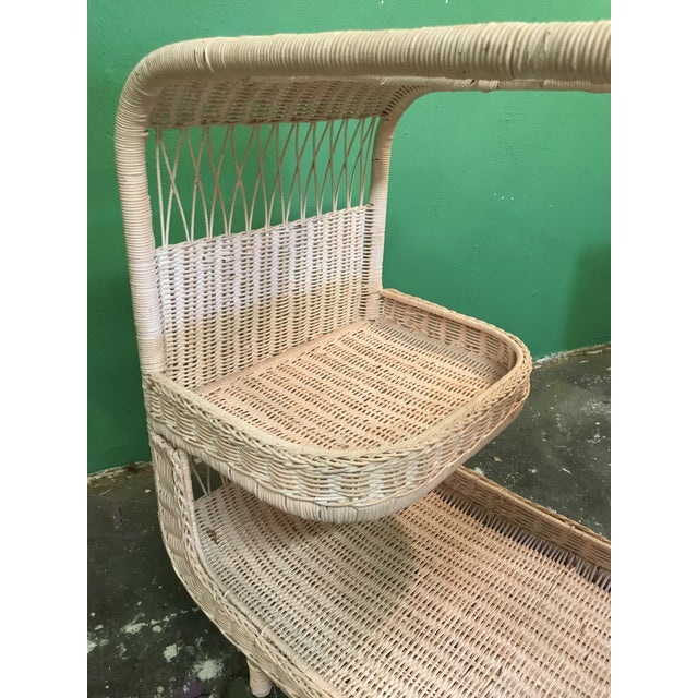 Glass Vintage Palm Beach Regency Pink Wicker Bar Cart For Sale - Image 7 of 13