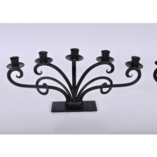 Mid 20th Century Scandinavian Modern Hand Forged Iron Six-Arm Candelabrum - a Pair Preview