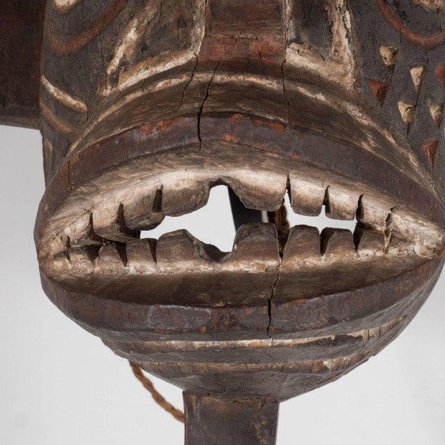 19th Century Bwa Mask Burkina Faso Mounted on Custom Black Enamel Stand For Sale - Image 10 of 11
