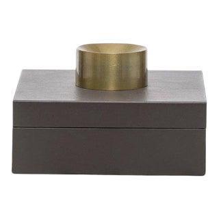 Contemporary Gray Leather Small Storage/ Accessory Box For Sale