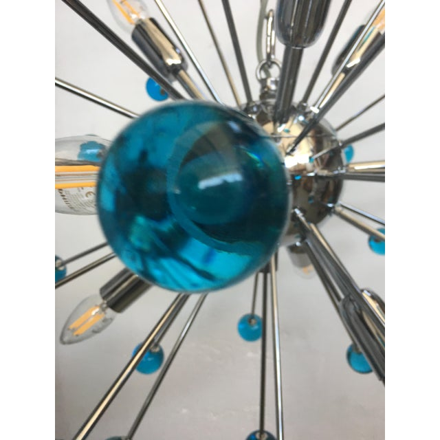 Contemporary Blue Murano Glass Chandelier in Sputnik Style With a Chrome Frame For Sale - Image 3 of 13