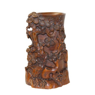 Chinese Wood Tree Relief Carved Motif Brush Holder Display For Sale