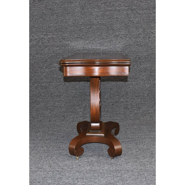 Traditional Antique Empire 1830s Mahogany Lyre Base Game Table For Sale - Image 3 of 11