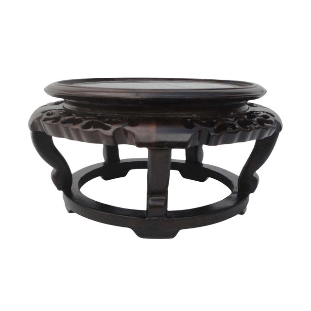 Chinese Hand Carved Chicken Feather Wood Marble Display Stand - Image 1 of 5