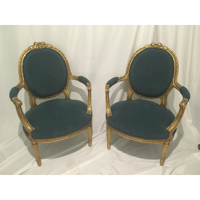19th C. French Gilt Chairs - a Pair For Sale - Image 13 of 13