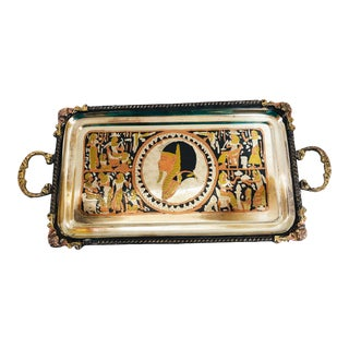 Vintage Silverplate, Brass and Copper Handled Tray For Sale