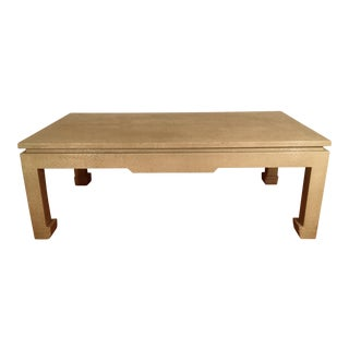 Baker Greige Grasscloth Wrapped Coffee Table With Chow Feet
