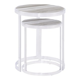 Blink Home White Nesting Tables - A Pair For Sale