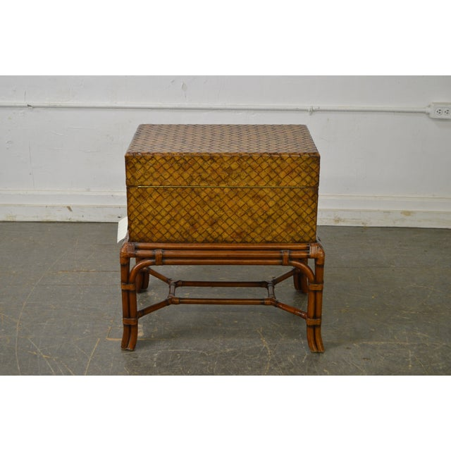 Maitland - Smith Maitland Smith Woven Leather Lidded Chest on Rattan Base For Sale - Image 4 of 11
