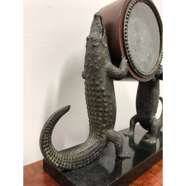 Maitland - Smith Maitland Smith Bronze and Marble Chiming Alligator Mantle Clock For Sale - Image 4 of 13