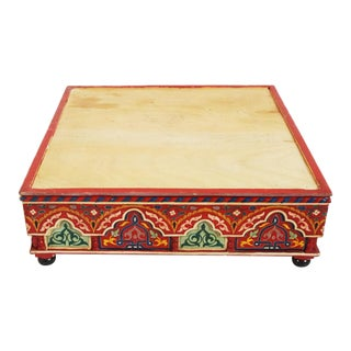 Moroccan Painted Wooden Ottoman For Sale