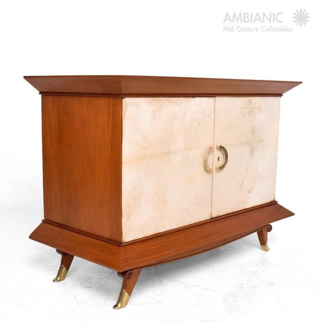1950s Mexican Modernist Cabinet With Parchment Doors For Sale - Image 5 of 10