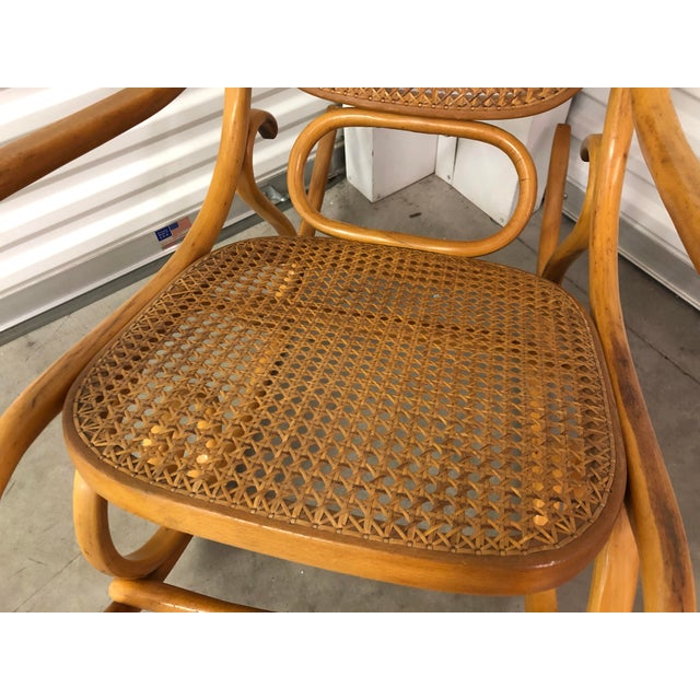 19th Century Thonet Bentwood & Cane Wood Rocker Rocking Chair For Sale In Tampa - Image 6 of 13
